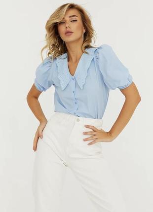 Голубая блуза из хлопка
