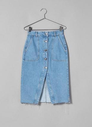 💓🤩 джинсовая миди на пуговицах на запах как zara с высокой посадкой завышенной