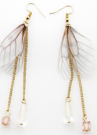 Шикарные серьги бабочки из ткани - органзы с кристаллами