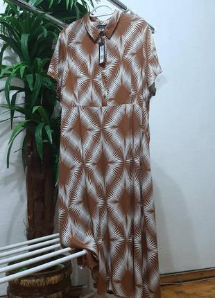 Стильное модное трендовое натуральное платье большого размера 20