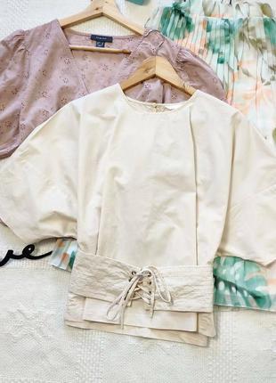 Блуза с поясом на шнуровке