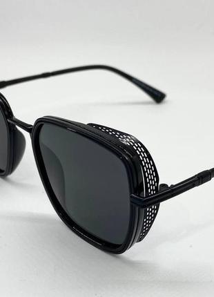 Очки женские солнцезащитные черные поляризованые квадраты с металическими шорами