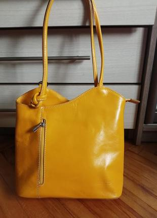 Кожаная сумка рюкзак vera pelle italy