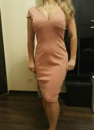 Платье платья сарафан пудровое