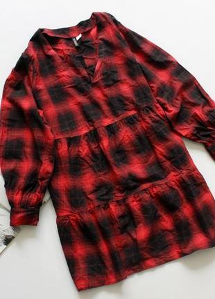 Классное платье в клетку красное свободное хл 14