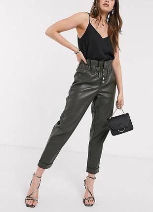 Кожаные свободные брюки с высокой талией