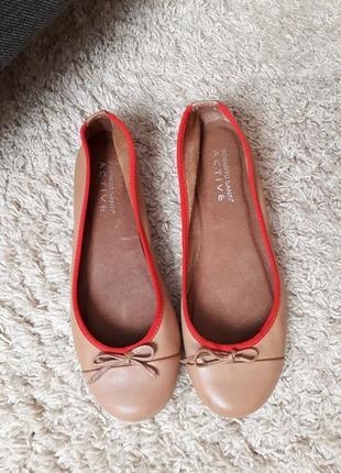 Кожаные шкіряні туфли балетки от roberto santi