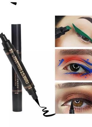 Двухстороння подводка для глаз color liquid eyeliner маркер + штамп