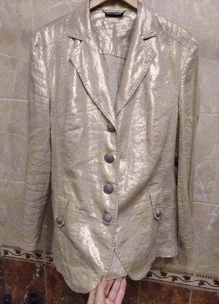 Gerry weber эксклюзив золотистый льняной новый пиджак 3xl