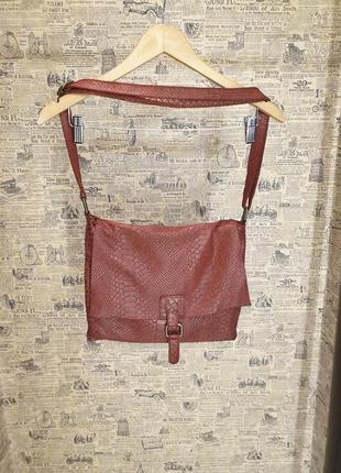 Стильна бордова мягка шкіряна кожаная сумка borse in pelle