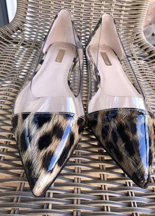 Лодочки туфли тигровые леопардовые острый носок прозрачные балетки