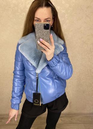 Кожаная куртка с натуральным мехом2 фото