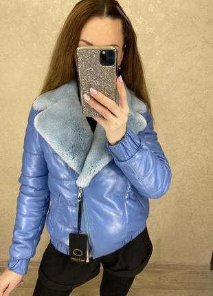 Кожаная куртка с натуральным мехом3 фото
