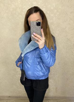 Кожаная куртка с натуральным мехом4 фото
