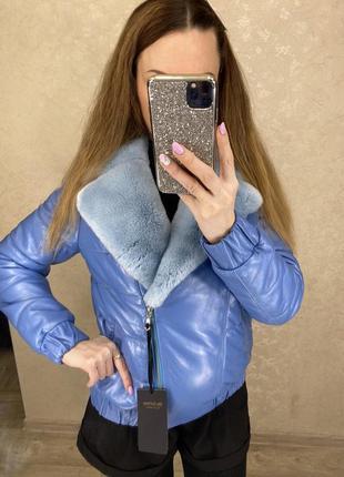 Кожаная куртка с натуральным мехом5 фото