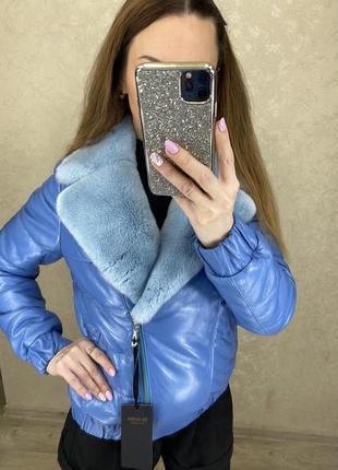 Кожаная куртка с натуральным мехом6 фото