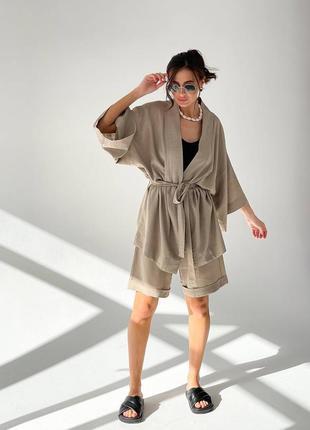 Кимоно  костюм шорты бермуды  рубашка пиджак льняной