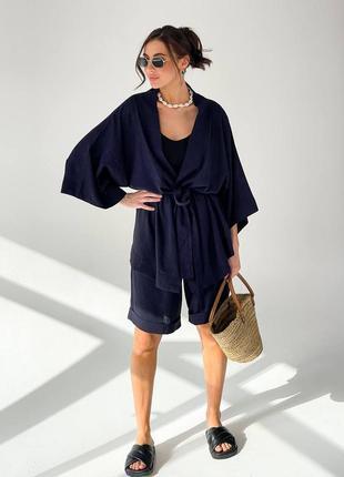 Костюм  двойка льняной  летний  кимоно шорты бермуды  рубашка