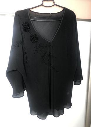 Блузка нарядная с бисером с  вишивкой