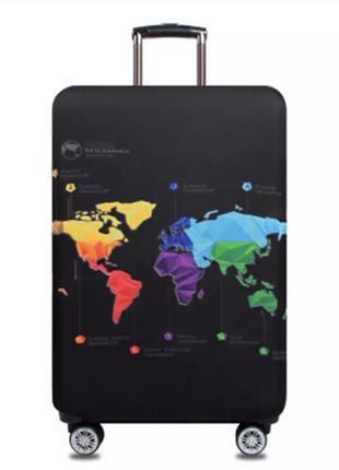 Чехол на большой чемодан l очень плотный с рисунком 🗺