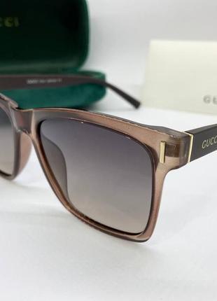 Gucci очки женская солнцезащитные прозрачная поляризованая бежевая классика с коричневыми дужками