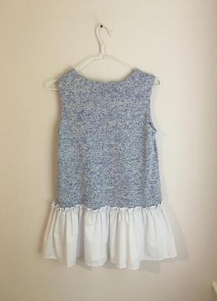 Нарядное платье волан рубчик белое голубое cиний