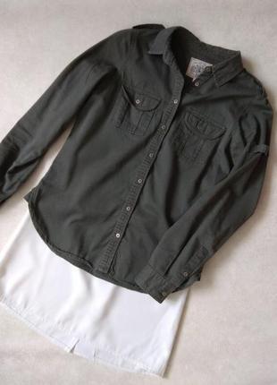 Хаки рубашка стильная женская темно-зеленая new look hudson