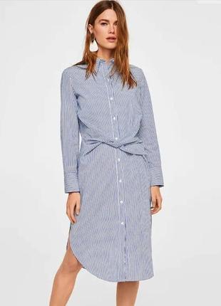 Минималистичное платье рубашка mango
