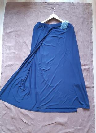Длинная трикотажная юбка с разрезами юбка на запах