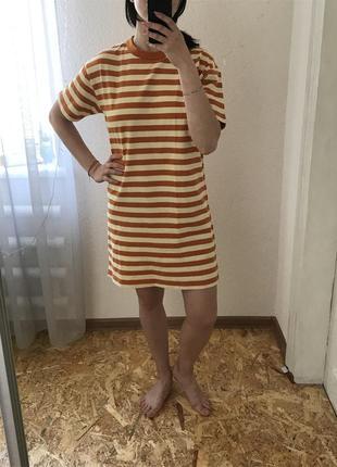 Платье футболка , платье прямого кроя , платье в полоску , платье ,