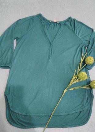 Бирюзовая трикотажная кофточка ( футболка с длинным рукавом), бренд esprit - португалия