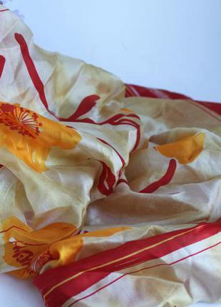 Яркий шелковый платок, натуральный шелк, желтый цветы