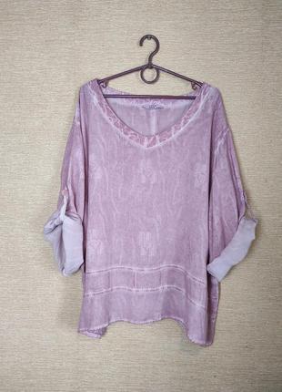 Летняя блузка туника блуза сорочка батал лен