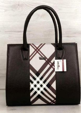 Женская сумка aliri-316-23 коричневая со вставкой в стиле барбери