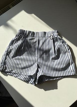 Летние шорты в полоску, завышенная талия bershka