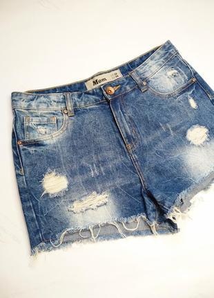 Mom короткие джинсовые шорты с потёртостями