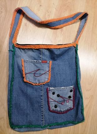 Синяя джинсовая сумка ручной работы