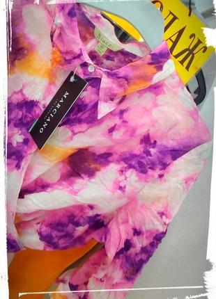 🌈хлопковая яркая летняя пляжная блуза рубашка топ biacci