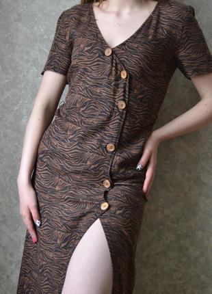 Міді сукня в тигровий принт