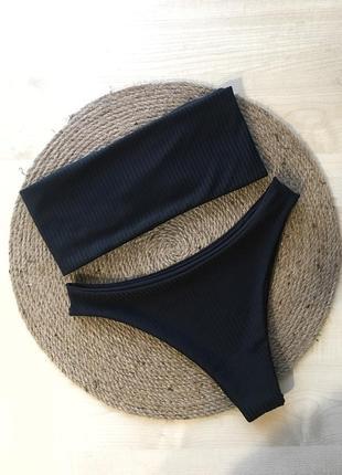 Новый купальник в рубчик 🖤 бандо и плавки бразильяно