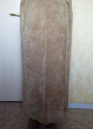 Шикарная фирменная длинная юбка из замши юбка замшевая юбка кожаная юбка