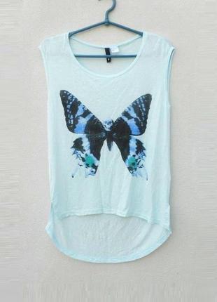 Летняя легкая блузка из вискозы с бабочкой