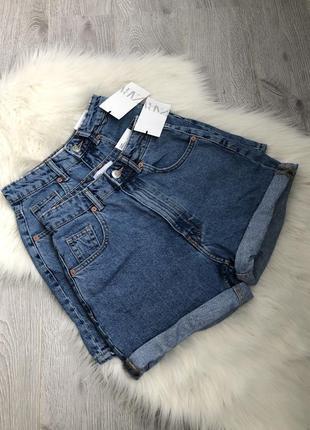Джинсовые шорты mom fit высокая талия посадка2 фото