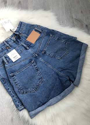 Джинсовые шорты mom fit высокая талия посадка4 фото