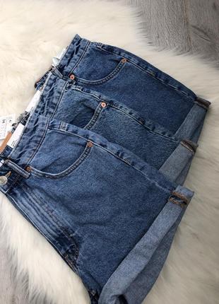 Джинсовые шорты mom fit высокая талия посадка6 фото