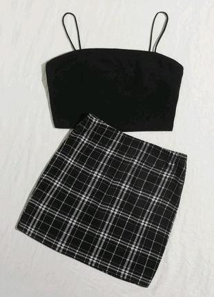 New!! знову в наявності!! новая юбка юбочка в клетку короткая мини