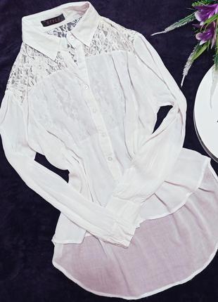Блузка рубашка удлиненная кружево