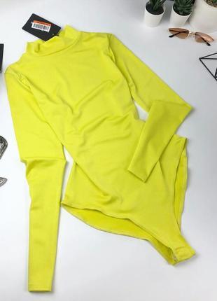 Лимонное/желтое боди гольф