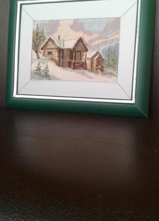 """Вышивка крестом """"домик в горах"""""""