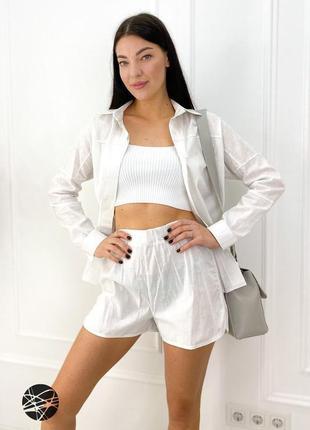 Летний льняной костюм шорты блуза из льна
